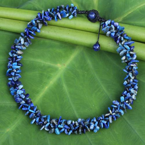 Fair Trade Handcrafted Lapis Lazuli Beaded Necklace 'Azure Flow'