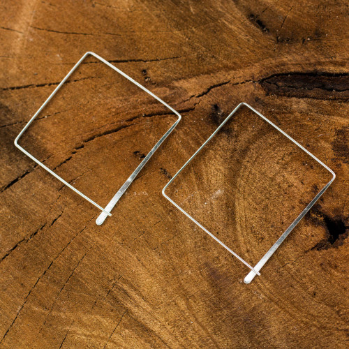 Artisan Crafted Sterling Silver Earrings 'Minimalist Square'