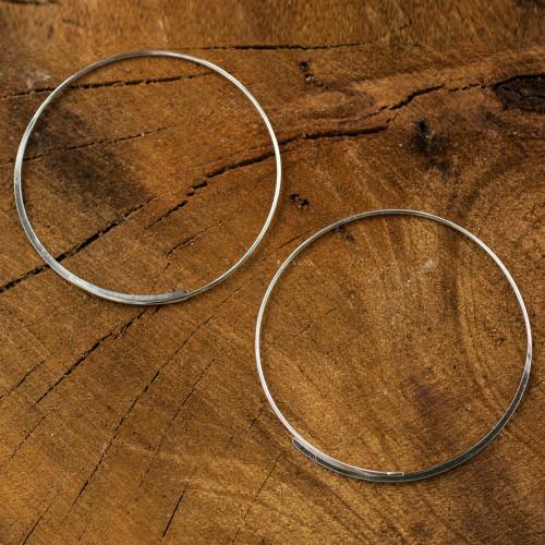 Artisan Crafted Sterling Silver Hoop Earrings 'Minimalist Cycle'
