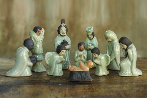 Unique 10-piece Celadon Ceramic Nativity Scene 'Siam Holy Birth in Green'