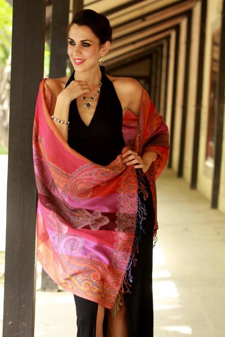 Warm Multicolored Wool Jamawar Shawl Wrap 'Holi Parade'