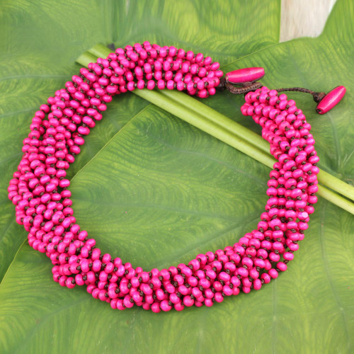 Hot Pink Torsade Necklace Wood Beaded Jewelry 'Ping Belle'