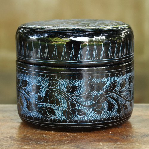 Round Decorative Box Handcrafted Lacquered Wood 'Exotic Blue Flora'
