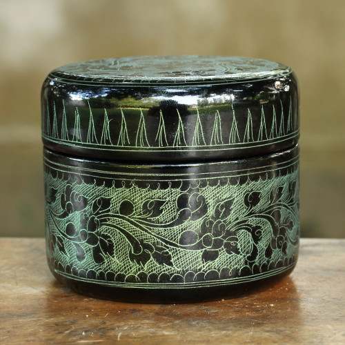 Handcrafted Lacquered Wood Round Decorative Box 'Exotic Green Flora'