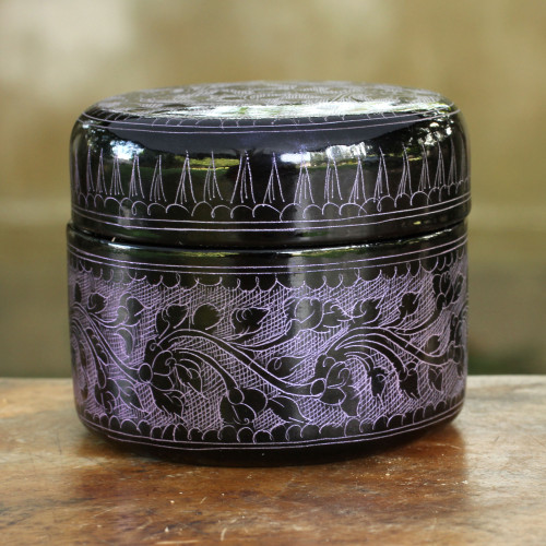 Handcrafted Lacquered Wood Round Decorative Box 'Exotic Purple Flora'