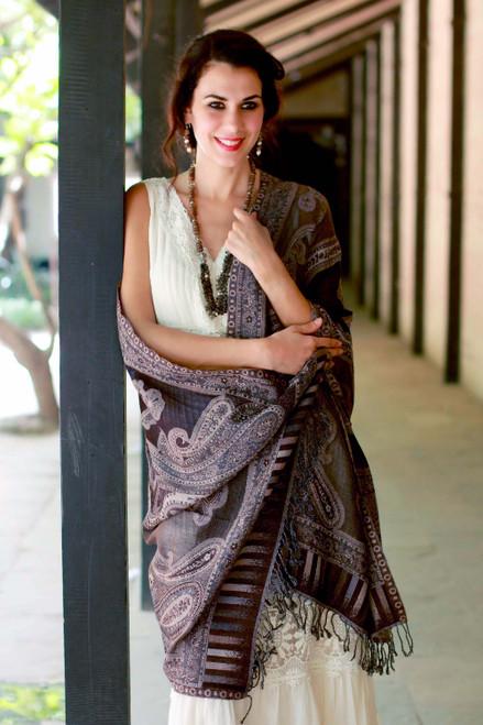Brown and Beige Jamawar Style Shawl 'Earthen Splendor'