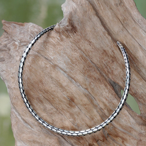 Minimalist Sterling Silver Choker from Bali 'Rice Harvest'
