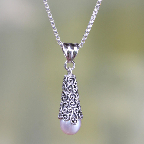 Sterling Silver and White Cultured Pearl Pendant Necklace 'White Arabesque Dewdrop'