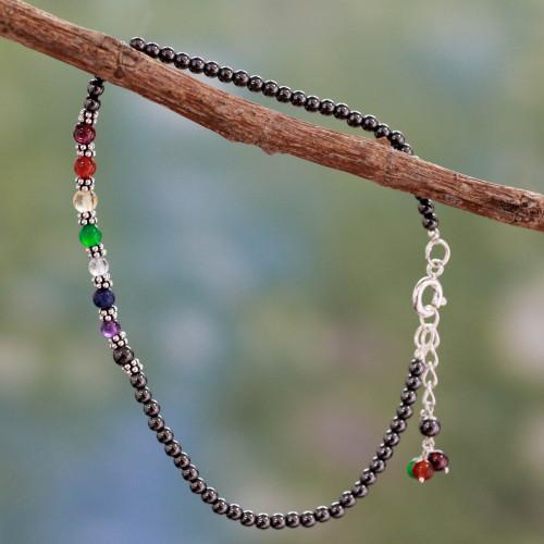 Handcrafted Multi Gemstone Anklet Chakra Jewelry 'Inner Balance'