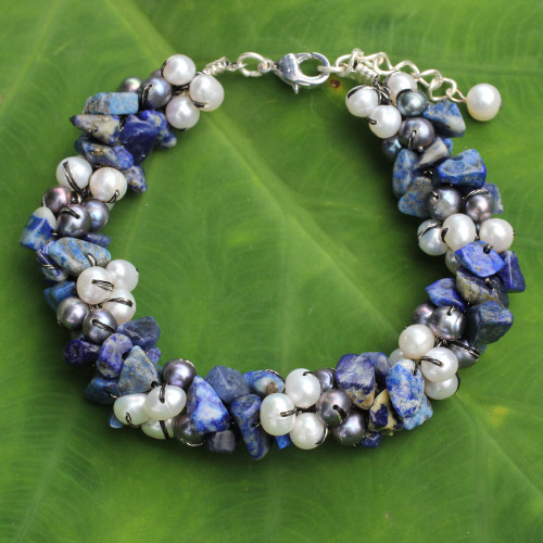 Handmade Bracelet with Lapis Lazuli and Pearls 'Gracious Lady'