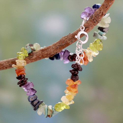 Handcrafted Colorful Multi Gemstone Bracelet 'Tranquil Mind'