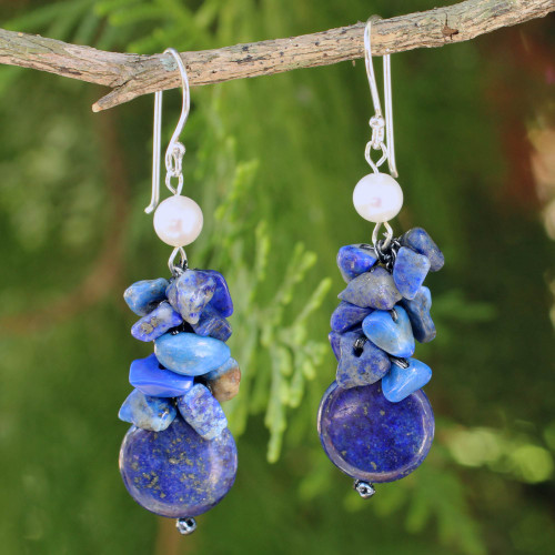 Hand Knotted Pearl and Lapis Lazuli Thai Earrings 'Exquisite Elegance'