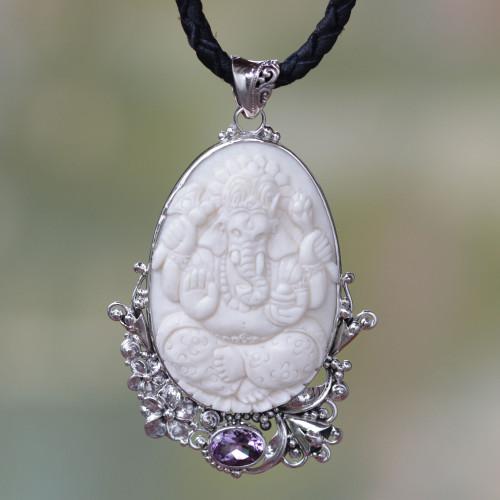 Amethyst and Silver Balinese Lord Ganesha Necklace 'Balinese Lord Ganesha'