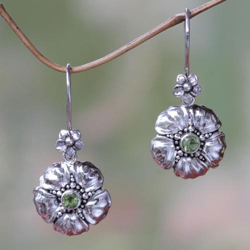 Handcrafted Balinese Peridot Flower Earrings 'Hibiscus'