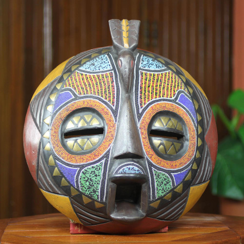 Colorful Handcrafted Bird African Mask 'Akan Anoma'