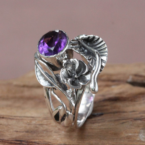 Fair Trade Floral Amethyst and Silver Ring 'Frangipani Bouquet'