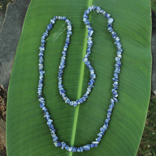 Artisan Crafted Sodalite Strand Necklace 'Light of Peace'
