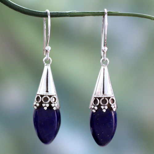 Artisan Crafted Lapis Lazuli and Sterling Silver Earrings 'Regal'