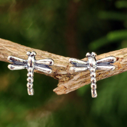 Silver Button Earrings 'Baby Dragonfly'