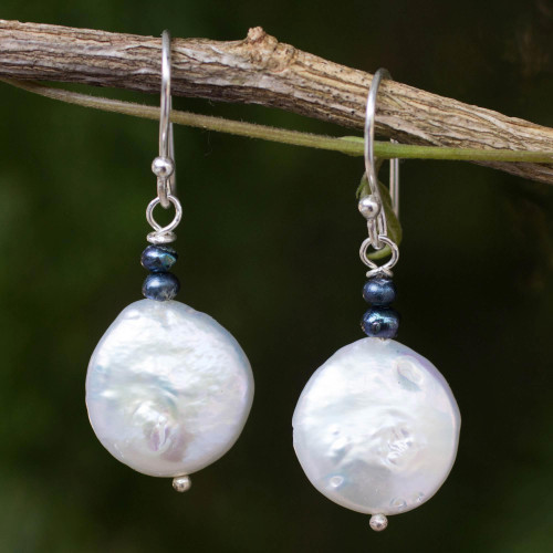 White and Gray Pearl Handcrafted Earrings 'Lunar Horizon'