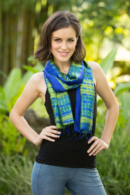 Unique Handcrafted Tie Dyed Silk Scarf 'Thai Meadow'