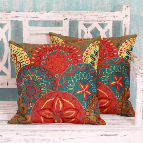 2 Orange and Teal Embroidered Applique Cushion Covers 'Glorious'