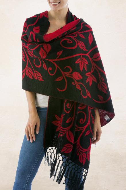 Reversible Red and Black Alpaca Blend Shawl 'Scarlet Leaves'