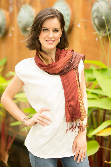 Hand-dyed Silk Scarf from Thailand 'Golden Brown Transition'