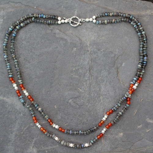 Handcrafted Necklace with Labradorite Pearl and Carnelian 'Essence'