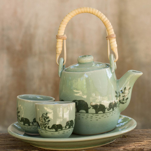 Thai Celadon Elephant Theme Tea Set for Two 'Elephant Parade'