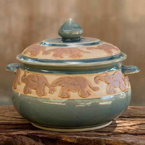 Handcrafted Blue Thai Celadon Covered Bowl 'Blue Elephant Walk'