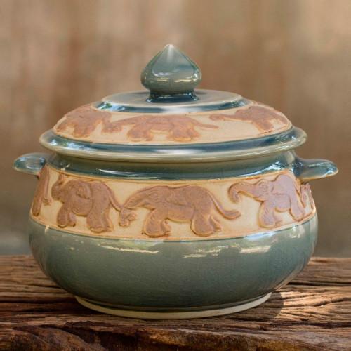 Handcrafted Blue Thai Celadon Covered Bowl 'Blue Elephant Walk'