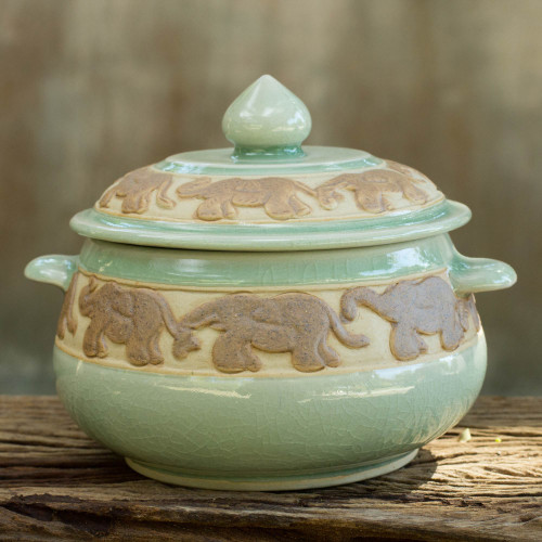 Handcrafted Green Celadon Covered Bowl from Thailand 'Green Elephant Walk'