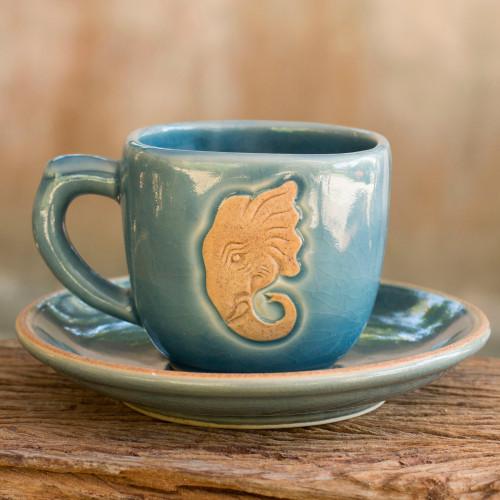 Thai Blue Celadon Elephant Cup and Saucer Set 'Blue Thai Elephant'