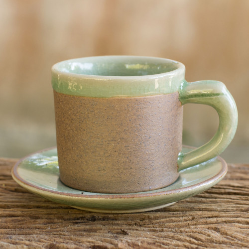 Green Celadon Elephant Demitasse and Saucer Set 'Espresso'