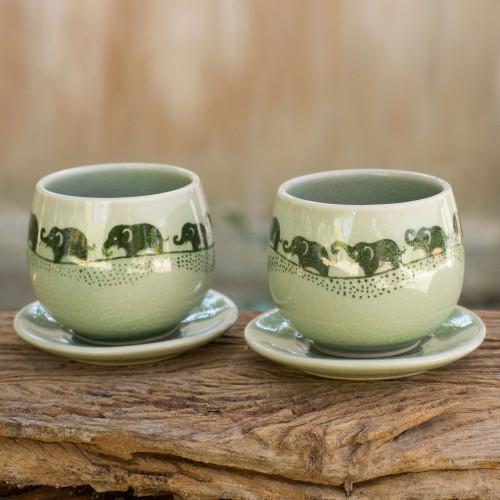Green Celadon Elephant Teacups and Saucers Set for 2 'Prancing Elephants'