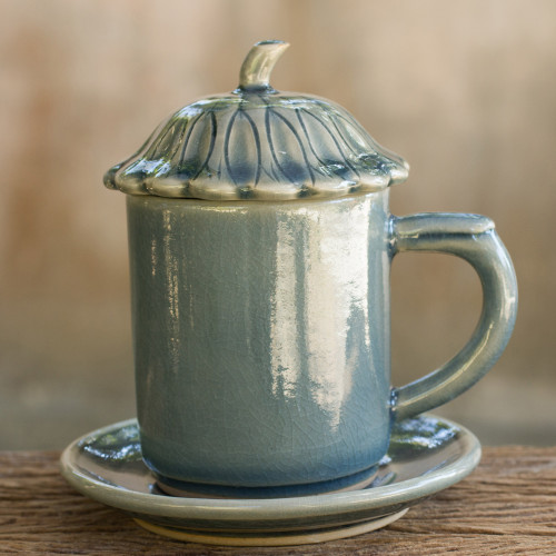 Blue Celadon Ceramic Covered Cup and Saucer from Thailand 'Blue Lotus Leaf'