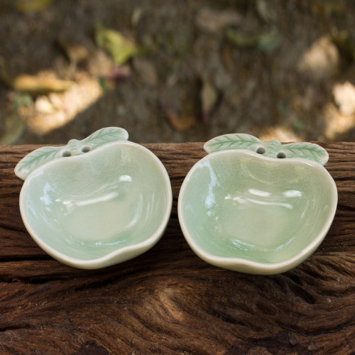 Green Celadon Condiment Dishes from Thailand pair 'Green Apple'