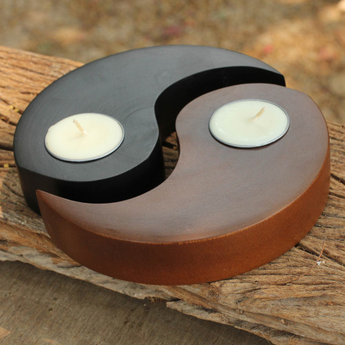 Hand-carved Wood Tealight Candleholders pair 'Light of Yin Yang'
