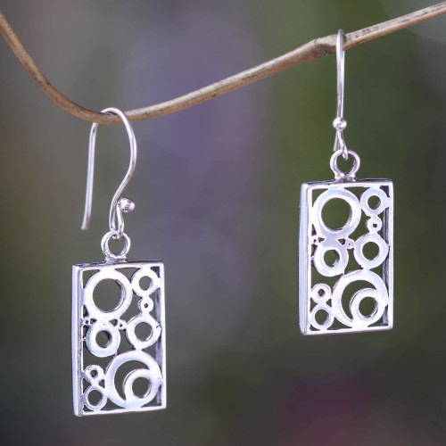 Balinese Silver Dangle Earrings 'Sea Foam'