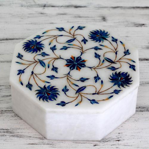 Fair Trade Marble Inlay Jewelry Box 'Kaleidoscope Blooms'