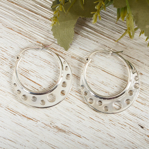 Taxco Silver Hoop Earrings 'Moon Landing'
