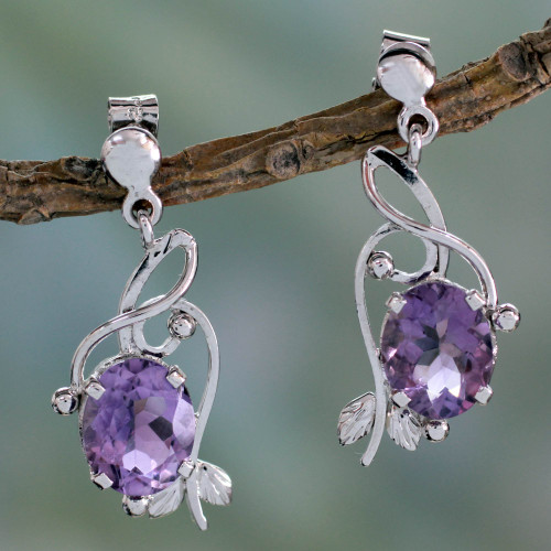 Handcrafted 8 Carat Amethyst Earrings 'Jungle Orchid'