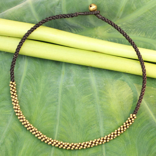 Artisan Crafted Brass Beaded Necklace 'Thai Light'