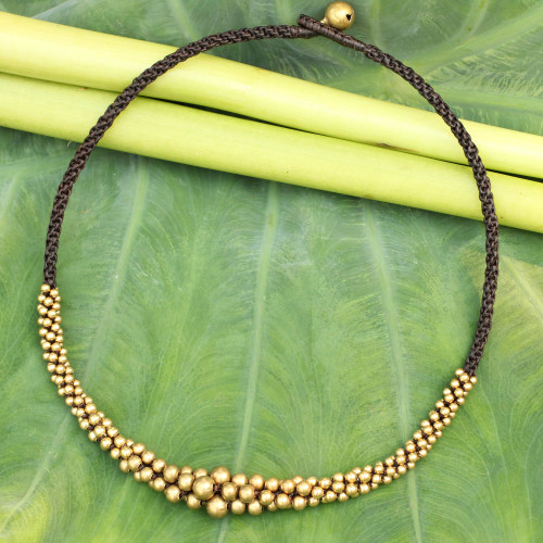 Hand Crafted Brass Beaded Necklace 'Ethnic Cosmos'
