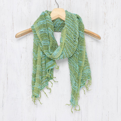Thai Blue and Green Cotton Scarf 'Breezy Blue and Green'