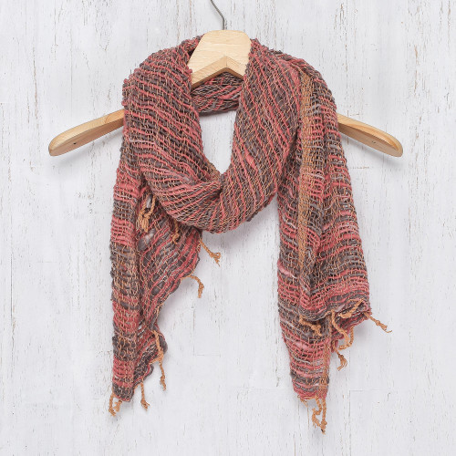 Thai Red and Grey Cotton Scarf 'Breezy Red and Grey'