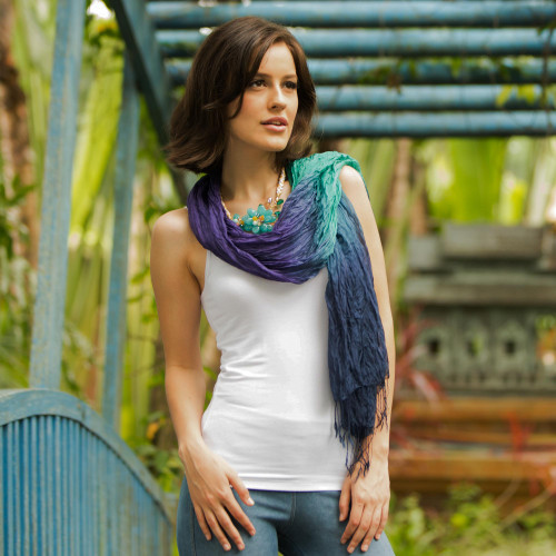 Blue Green Purple Silk Scarf 'Cool Transition'