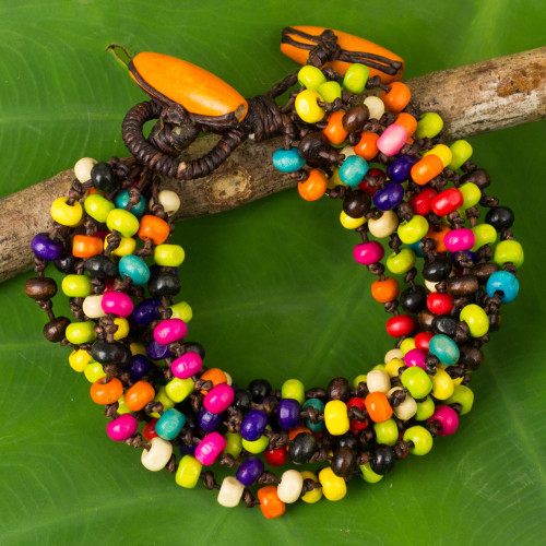 Multicolor Wood Beaded Artisan Crafted Bracelet 'Trang Belle'