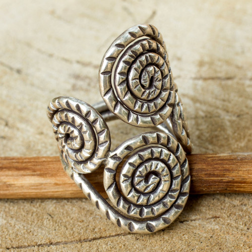 Fair Trade Sterling Silver Wrap Ring 'Spiral of Love'